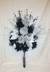 LUXURY ARRANGEMENT, 95cm ARTIFICIAL SILK SILVER GLITTER-BLACK FLOWERS, MIX GRASS