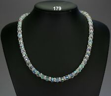 Sparkly clear AB glass crystal necklace, multi-coloured hues, silver snowflakes
