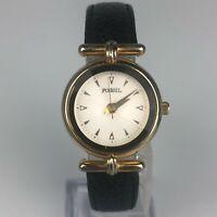 Fossil Womens Black Leather Strap Vintage Wristwatch PC-7321