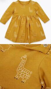 Baby Girls M*S Dress Mustard Yellow Long Sleeve Cotton Cute Llama Character NEW