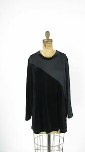 Baranda Woman Plus Size 1X Black Velour Top Blouse Stretchy Knit NWT