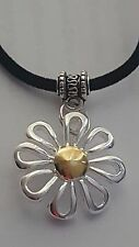 "BEAUTIFUL SILVER PLATED DAISY CHARM ON BLACK LEATHER 3MM VELVET 17"" NECKLACE."