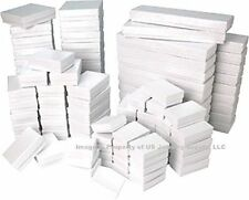 100 Assorted Mix Sizes White Swirl Cotton Filled Jewelry Packaging Gift Boxes