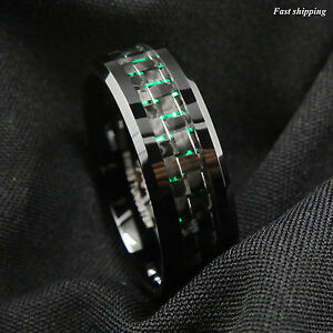 Men's jewelry 8Mm Tungsten Ring with  Black and Green Carbon Fiber Wedding Band