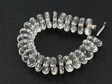 Natural Crystal Quartz Laser Cut Faceted Rondelle Wheel Heishi Gemstone Beads