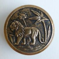 Bouton ancien - Historié - Lion - 24 mm - Vintage Picturial Button