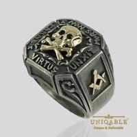 Masonic Knights Templar Memento Mori Ring 14K Gold Silver Skull Men UNIQABLE