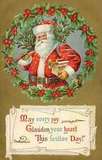 1909 Red Suit SANTA CLAUS Embossed Holly Berry Wreath Trumpet Tree Gold postcard