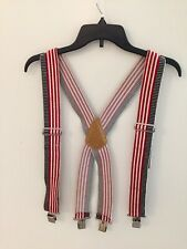 "America's Choice Heavy Duty Suspenders Braces Metal Clips Red White Blue 2"" Wide"