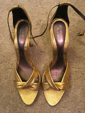 Authentic Te Casan Natalie Portman Gold Vegan Strap Heels