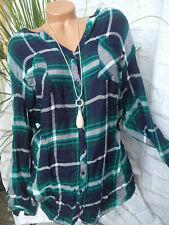 Sheego Blusa Túnica para Mujer Talla 54 Verde de Cuadros (247) (434) Especial