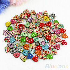 100 Multicolor Heart Shape 2 Holes Wood Sewing Buttons Scrapbooking Knopf Bouton