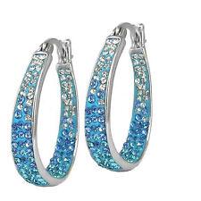 Women's 18Kt White Gold Plated Austrian Crystal Inside Outside Hoop Earrings