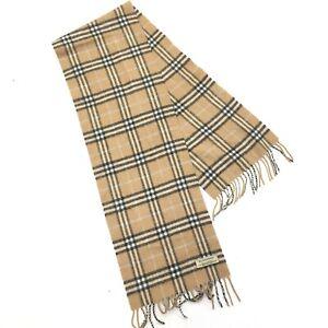 "BURBERRY Lambs wool 54"" X 10"" Fringed FLANNEL SCARF Nova Check Plaid Scotland"