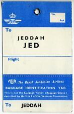 ALIA - ROYAL JORDANIAN AIRLINES to JEDDAH / SAUDI ARABIA - Old Luggage Tag, 1960