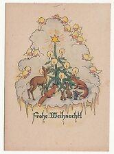 Ak Frohe Weihnacht - Tiere am geschmückten Christbaum um 1948 ! (S18