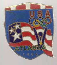 1996 Atlanta Olympic Pin Gold Medal Winner USA Rings Flag Large