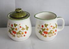 Empress by Haruta Vintage Strawberry Print Ceramic Sugar Jar and Creamer Set
