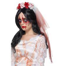 GOTAS DE SANGRE Velo Mujer Día De Los Muertos Halloween Blanco Velo Disfraz
