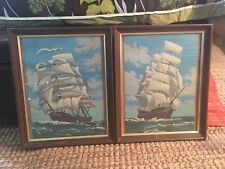 Lot of 2 Paint By Number Tall Sailing Ship Framed Pictures 13 by 15