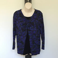 'BLACK PEPPER' EC SIZE '12' BLUE, PURPLE, TAUPE & BLACK LAYERED 3/4 SLEEVE TOP