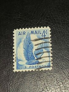 US Scott# C48 Eagle in Flight  Air Mail Stamp Blue Used Beautiful Shape  -#2411