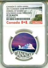 2017 Canada S$10 150th Anniversary Iceberg At Dawn Colorized ER NGC PF70 Matte