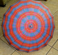 Umbrella Parasol Red Blue Green Plaid Stripe Amber Lucite Handle Finial 40s 50s