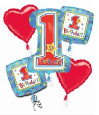 VERY RARE FIND First Birthday Mylar Balloon Bouquet ~ First Birthday Bouquet 5pc