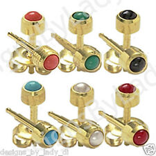 6 Pairs 4mm Colored Pearl Gold Ear Piercing Earrings Studs Hypoallergenic