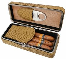3 Cigar Humidor Travel Box Cedar Wood Snake Pattern Leather Case With Cutter Set