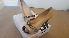 Nine West Chrissy Nude Beige Snake Leather Court Shoes Shoes Size 5 38 Worn Once