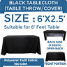 6ft. Full Color Blank Table Cover/Throws 3 Sided Tablecloth for Tradeshow, Black
