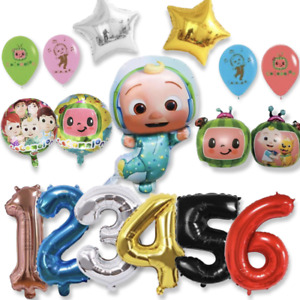 """12 pc Cocomelon Balloon Birthday Party with 40"""" Number Choose color number"""