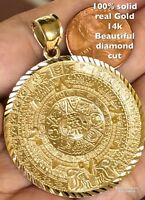 "GOLD Aztec 14k pendant SOLID REAL sun mayan Yellow Diamond Cut necklace 2.10"""