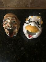 2 Hand Painted Smoke Head Ashtray Man with Bee on his Nose Made in Japan