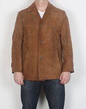 """Chaqueta de abrigo ajustada de cuero de gamuza marrón medio 40"""" 42"""" años 70 (G1Q)"""