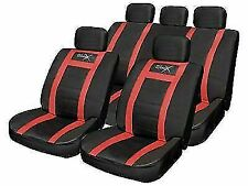 Streetwize Leather Look Seat Cover Set Black Grey SWUXSC5-Red