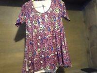 LuLaRoe Simply Comfortable Floral Shirt Top Dress XXSmall Womens PURPLE BLUE MOR