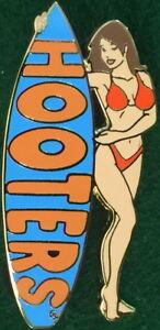 HOOTERS RESTAURANT Sexy BRUNETTE Waitress RED Bikini Girl BLUE Surfboard PIN