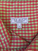 Ted Baker London Womens Shirt Size 4 Pink Green Check Short Sleeve Button Front