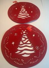 Holiday Style Set Of 2 Christmas Tree Felt Table Placemats