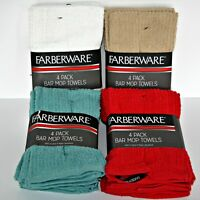 100% Cotton FABERWARE Bar Mops 4 pack Super Absorbent Kitchen Towels 5 Colors