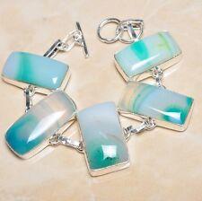 "Handmade Botswana Onyx Agate Gemstone 925 Sterling Silver Bracelet 7"" #N00018"