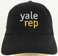 Yale Rep Black Baseball Hat Cap with Leathery Strap Adjust