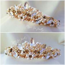 Tiara da Sposa Oro Luccicante Cristalli Swarovski, Perle. Sposa Nuziale UK