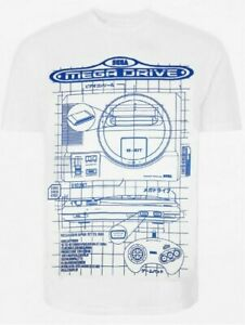 Sega Mega Drive Blueprint Diagram Print Licensed White T-Shirt - M - Free P+P