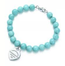 "541663e30 Tiffany Co. Blue Bracelet Amazonite RTT Heart Tag 8mm Bead SZ 7.5"" Pouch Box"