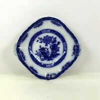 Antique Flow Blue English Square Serving Plate Small Platter Tray