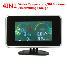 4In1 LCD Car Oil Pressure/Voltmeter /Water Temperature Gauge Fuel Meter 12V/24V
